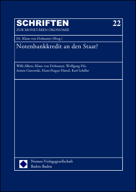 """Titelblatt von """"Notenbankkredit an den Staat?"""""""